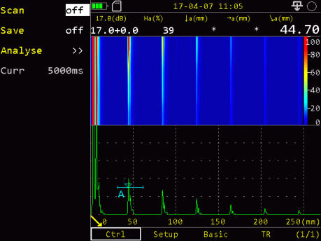 SIUI Smartor Highly Portable Digital Ultrasonic Flaw Detector Screenshot showing the B-Scan Mode
